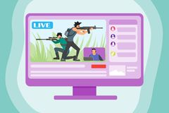 Playing Game Live On The Internet royalty free illustration