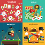 Playing Games Banners Set. Playing games square banners set with cards gambling billiards and video flat isolated vector illustration Stock Photography