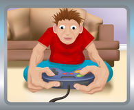 Playing on the games console. A boy playing on a games console stock illustration