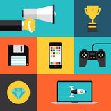 Playing games flat icons set. Flat design style modern vector illustration concept with icons set of game playing awards, gaming development apps for mobile Stock Photos