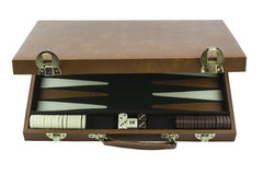 Playing Games Series - Backgammon Board Game Case. Backgammon board game case partially open showing the dice, game pieces and board inside. Isolated on a pure stock photo