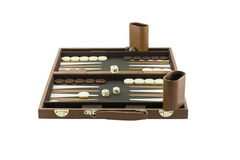 Playing Games Series - Backgammon Board Game Setup. An entire backgammon board game set up and ready for play. Isolated on a pure white background royalty free stock photography