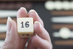 Playing Games Series - Rolling Backgammon Dice - No 16. Readying to roll backgammon dice on the brown and cream backgammon board blurred in the background Royalty Free Stock Image