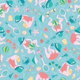 Playing girl Summer beach seamless vector pattern background. Cute toddler with badminton, beach ball, kite in the sand stock photo
