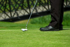 Playing golf. Man playing golf on irish course in Adare Stock Photo