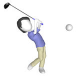 Playing Golf. 3d Human Playing Golf. Tee off Stock Photos
