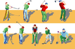 Playing Golf. Cartoon vector illustration of persons playing golf Stock Photos