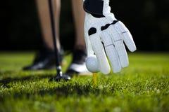Playing golf, ball on tee Stock Image