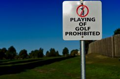 Playing of Golf Prohibited Sign