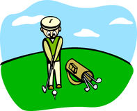 Playing golf vector illustration Stock Photos