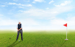 Playing golfer Stock Image