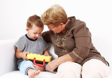 Playing with granny Royalty Free Stock Photography