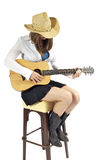 Playing the Guitar. Young brunette with guitar ready for playing stock photo