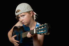 Playing and guitar Royalty Free Stock Images