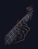Playing guitar chord Stock Photo