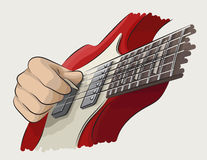 Playing guitar colored illustration stock image