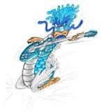 Playing guitar dragon cartoon Stock Images