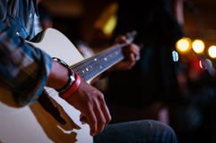 Playing Guitar. Fingering to playing guitar and music Stock Photo