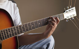 Playing guitar - fretboard Stock Image