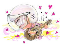 Playing Guitar love song Acting Character design Bike Man color Stock Photo