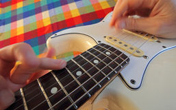 Playing guitar is my hobby Royalty Free Stock Photography
