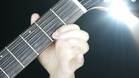 Playing guitar,strum,disco rays lights. stock video