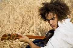 Playing guitar05. Cool guy laying in a cornfield playing guitar royalty free stock photos