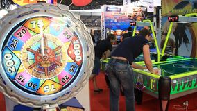 Playing hall. UKRAINE, KIEV, SEPTEMBER 15, 2011: People in playing hall at exhibition of games in Kiev, Ukraine, September, 15, 2011 stock footage