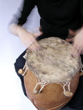 Playing handdrum. African kpalogo drum, instrument originated from Ghana Royalty Free Stock Image