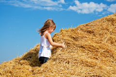 Playing with hay Stock Images