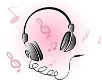Playing headphone Stock Images