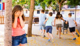 Free Playing Hide And Seek. Girl Covering Eyes Her Hands Royalty Free Stock Photo - 125652915