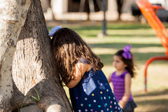 Playing hide and seek Stock Image