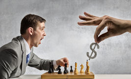 Playing his business strategy Royalty Free Stock Images