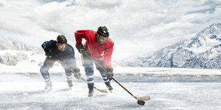 Playing Hockey Game Royalty Free Stock Images