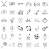 Playing icons set, outline style. Playing icons set. Outline style of 36 playing vector icons for web isolated on white background Royalty Free Stock Photography