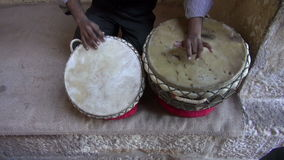 Playing on indian tabla drums in Rajasthan, India stock footage