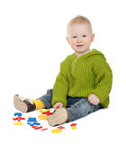 Playing isolated baby boy Royalty Free Stock Photo