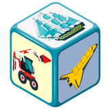 Playing isometric dice with means of transport, truck, boat, plane, toy. Stock Image