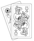 Playing italian cards. Cartoon style illustration of two Italian playing cards - Black and white Stock Photography