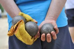 Playing jeu de boules Royalty Free Stock Photography
