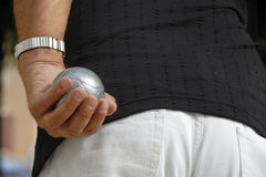 Playing jeu de boules Stock Photos