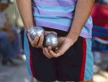 Playing jeu de boules Royalty Free Stock Photos