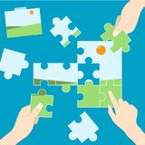 Playing jigsaw photo vector. Playing puzzle jigsaw photo vector n Stock Photos
