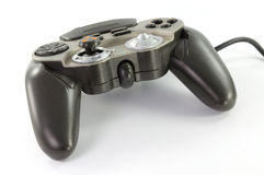 Playing with joypad on white background Royalty Free Stock Photo
