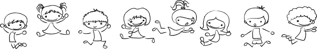 Playing and jumping cute kids, vector Royalty Free Stock Images