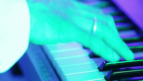 Playing keyboards on home stock footage