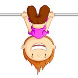 Playing Kid. Vector illustration of kid hanging against white background Stock Images