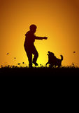 Playing kid and dog Royalty Free Stock Photography