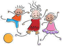 Playing kids. Line drawing of playing kids on isolated white background Stock Photo